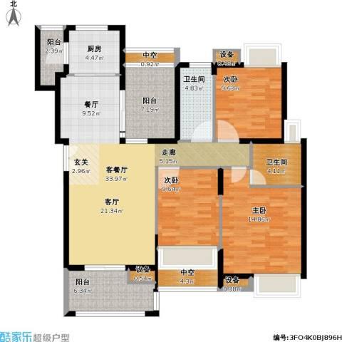中海星湖国际3室1厅2卫1厨120.00㎡户型图
