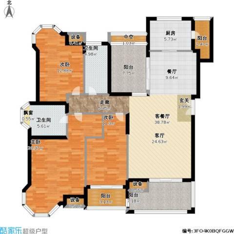 中海星湖国际3室1厅2卫1厨141.00㎡户型图