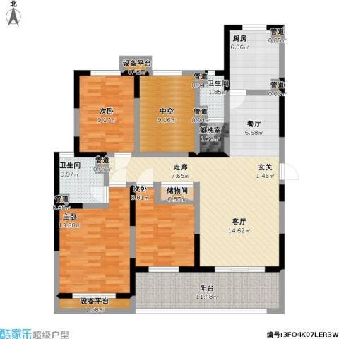 中央时区3室1厅2卫1厨149.00㎡户型图