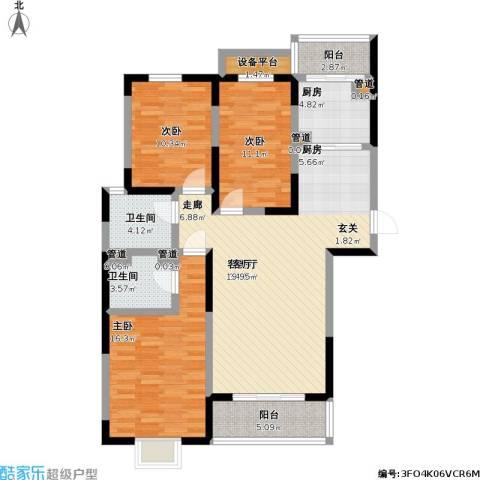 中央时区3室1厅2卫1厨139.00㎡户型图
