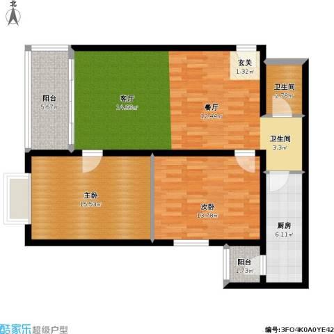 恬心家园(二期)2室0厅1卫1厨88.00㎡户型图