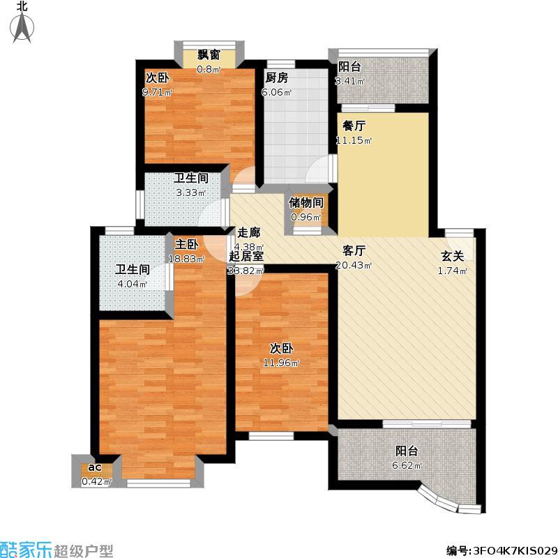 耀江・丽景湾(一期)116.00㎡房型: 三房; 面积段: 116 -138 平方米;户型