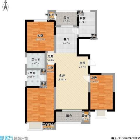 中央时区3室1厅2卫1厨150.00㎡户型图
