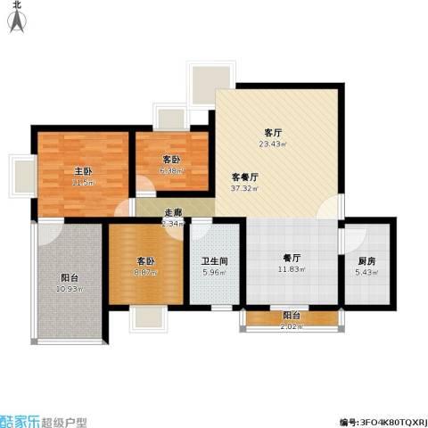 万科金色家园三期3室1厅1卫1厨102.00㎡户型图