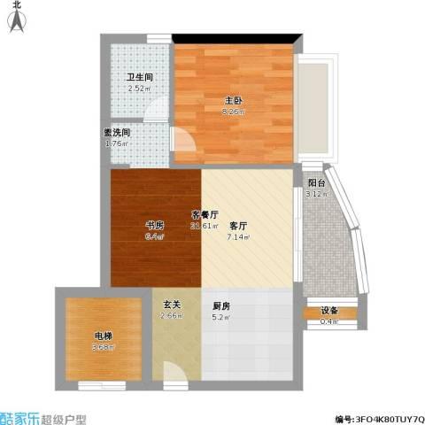 蓝月湾畔1室1厅1卫0厨46.00㎡户型图