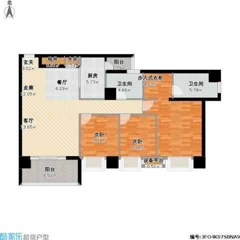 银业国际公寓3室1厅2卫1厨142.00㎡户型图