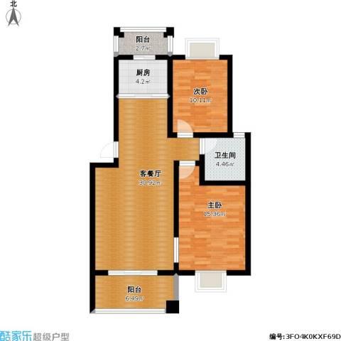 双湖明珠2室1厅1卫1厨108.00㎡户型图