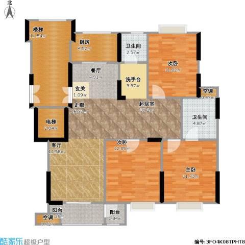 福基丽景园3室0厅2卫1厨116.00㎡户型图