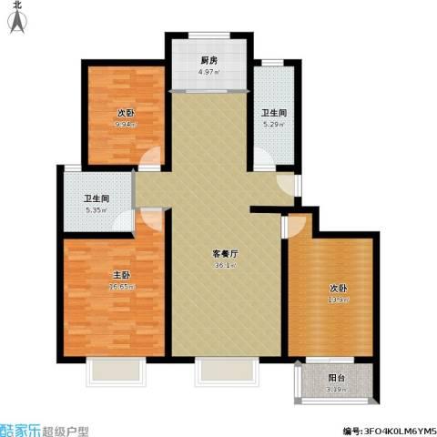 杨浦欣苑3室1厅2卫1厨136.00㎡户型图