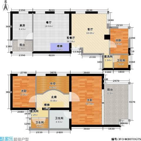 万科彩园3室1厅3卫1厨131.00㎡户型图