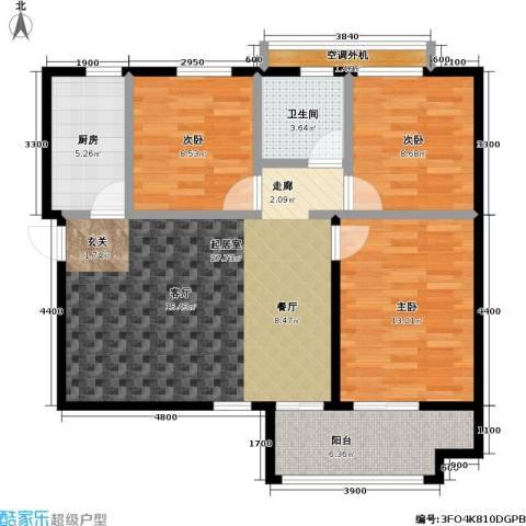 青年城3室0厅1卫1厨108.00㎡户型图