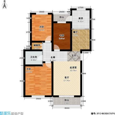 天屋福城3室0厅1卫1厨125.00㎡户型图