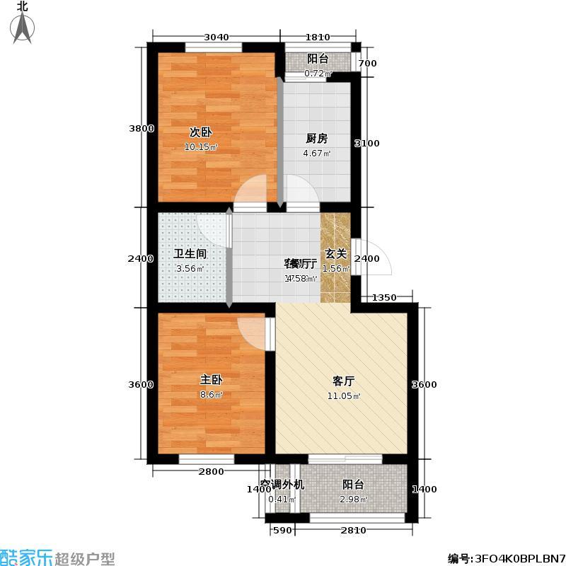 海逸诗阁二期户型2室1厅1卫1厨
