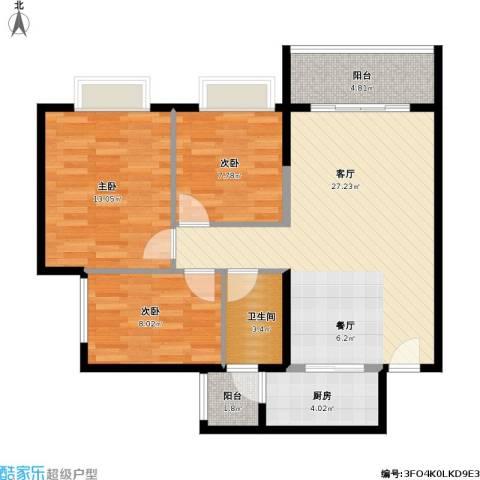 广州时代倾城3室1厅1卫1厨98.00㎡户型图