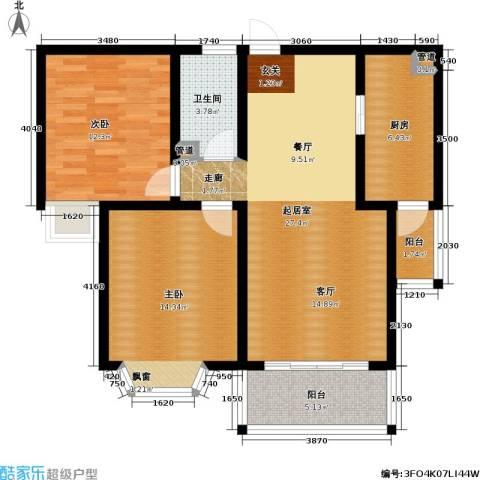 金鼎湾国际2室0厅1卫1厨91.00㎡户型图
