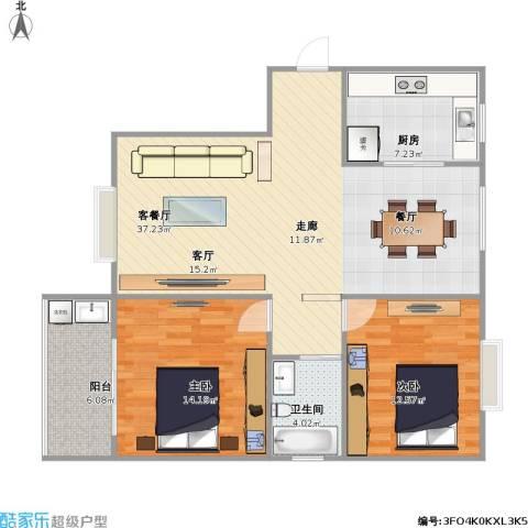 北城春色2室1厅1卫1厨109.00㎡户型图