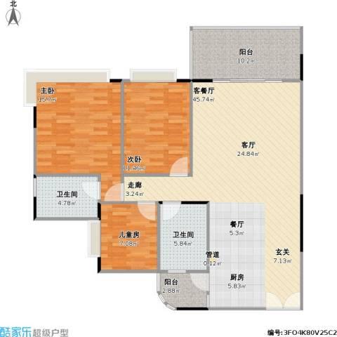 南海湖景湾3室1厅2卫0厨115.00㎡户型图