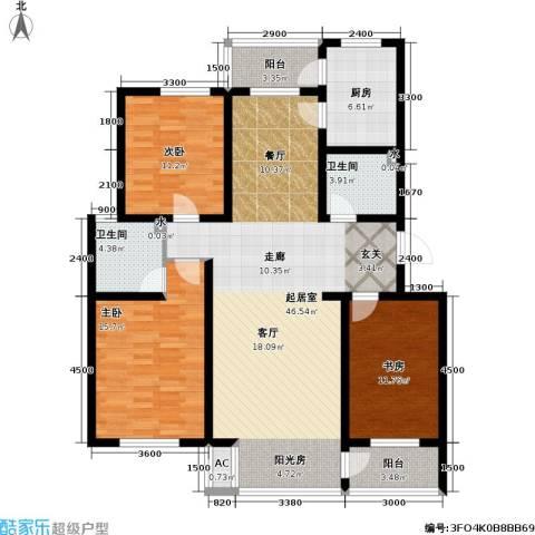 天屋福城3室0厅2卫1厨155.00㎡户型图