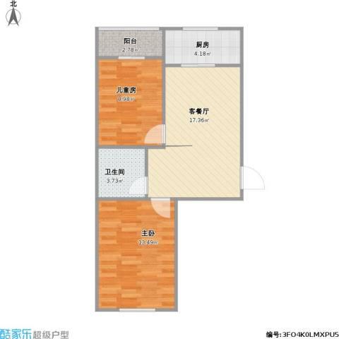 法兰之香2室1厅1卫1厨68.00㎡户型图