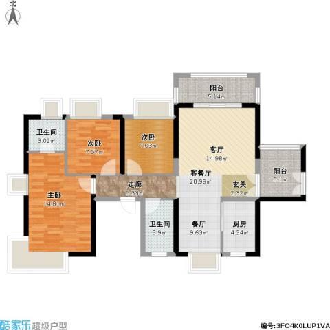 保利未来城市3室1厅2卫1厨115.00㎡户型图