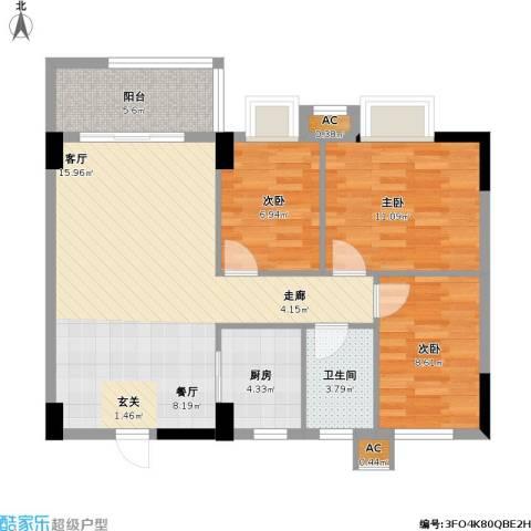 银丰花园3室0厅1卫1厨80.25㎡户型图