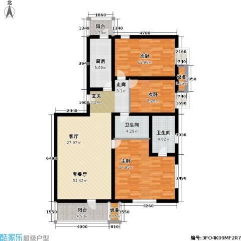 燕宇艺术城3室1厅2卫1厨110.00㎡户型图