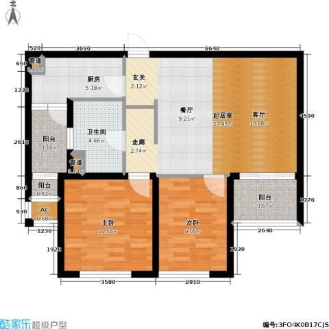 金鼎湾国际2室0厅1卫1厨90.00㎡户型图