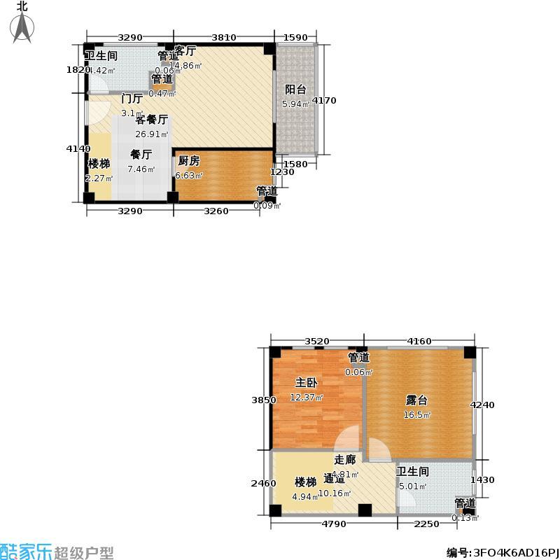 香奈天鹅湖C-c67户型1室1厅2卫1厨