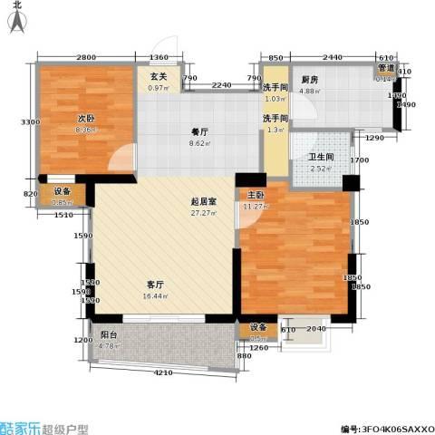 国信馨园香樟水岸2室0厅1卫1厨68.12㎡户型图