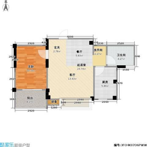 国信馨园香樟水岸1室0厅1卫1厨54.22㎡户型图