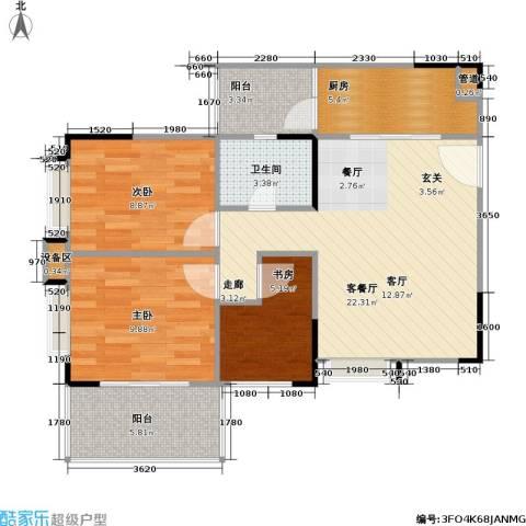 鸿福花园3室1厅1卫1厨81.00㎡户型图