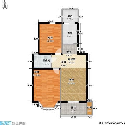 腾泰雅苑2室1厅1卫1厨85.00㎡户型图