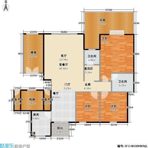 泽瑞・汇景苑3室1厅2卫1厨184.00㎡户型图