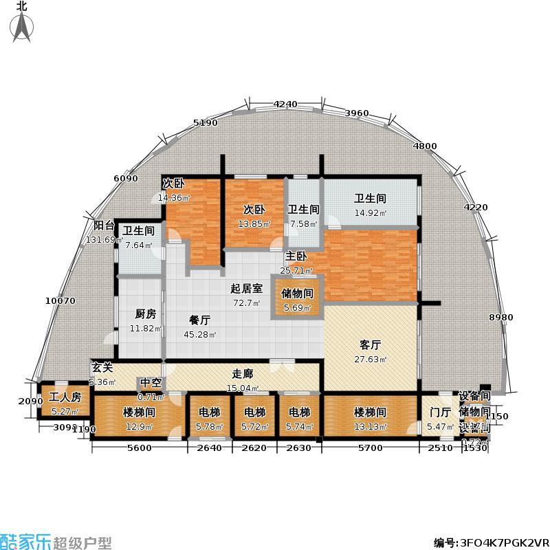 龙湖世纪峰景280.00㎡2号楼户型3室2厅3卫