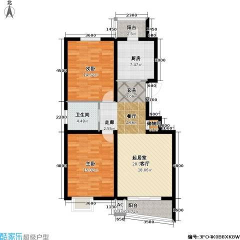 海城公寓2室0厅1卫1厨111.00㎡户型图
