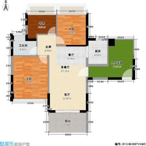 碧水龙庭3室1厅1卫1厨90.00㎡户型图