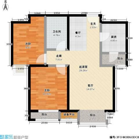 瞰海2室0厅1卫1厨88.00㎡户型图
