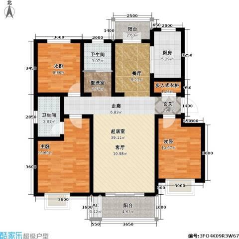 海城公寓3室0厅2卫1厨136.00㎡户型图