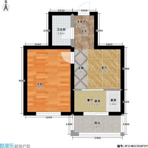 春城小院1室0厅1卫1厨48.00㎡户型图