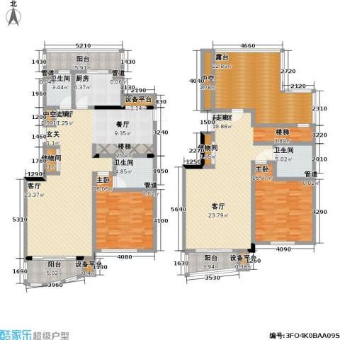 汇名公寓2室1厅3卫1厨220.00㎡户型图