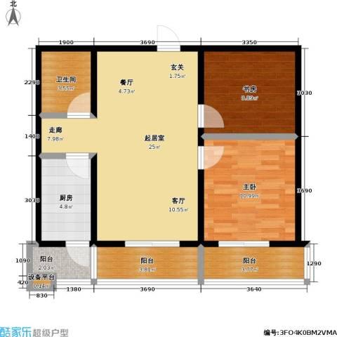 水木康桥二期2室0厅1卫1厨91.00㎡户型图