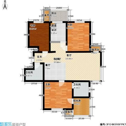 云锦蓝庭3室1厅2卫1厨149.00㎡户型图