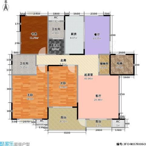 奥体新城海棠园3室0厅2卫1厨146.00㎡户型图