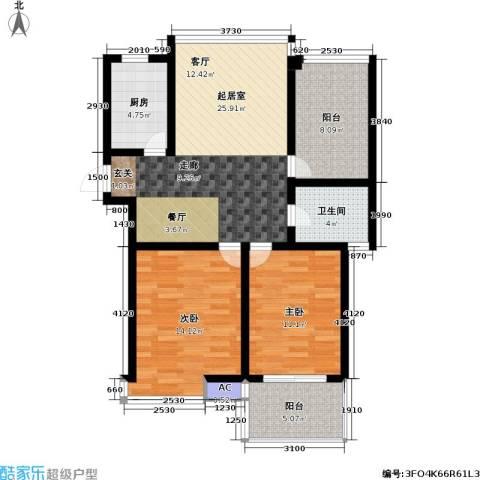 迎宾秀园2室0厅1卫1厨80.00㎡户型图