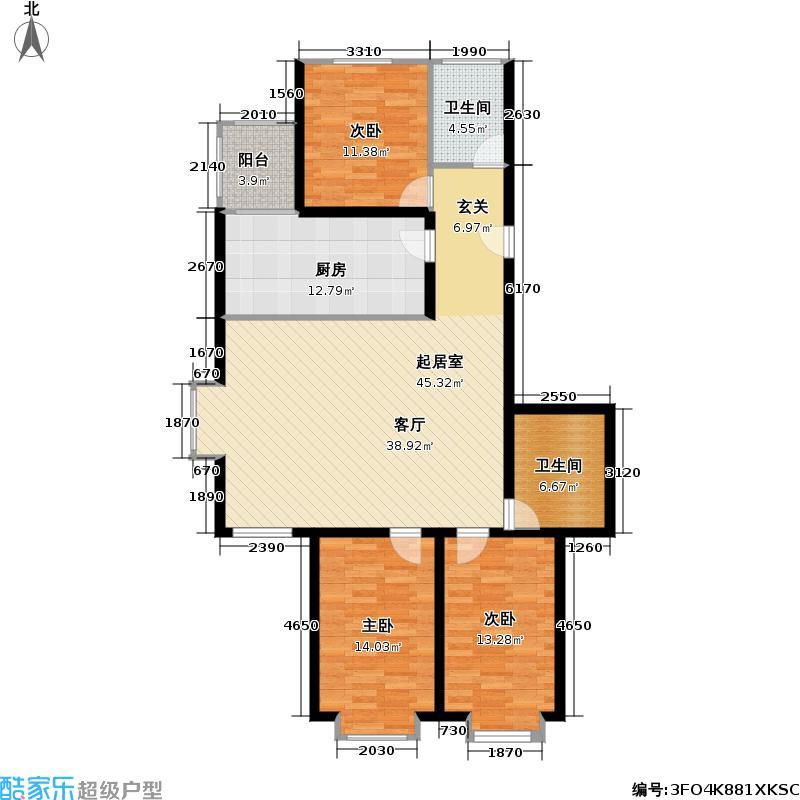 天地新城121.73㎡三室二厅二卫户型