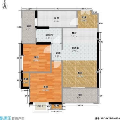 重庆天地雍江悦庭 重庆天地・雍江悦庭2室0厅1卫1厨69.77㎡户型图