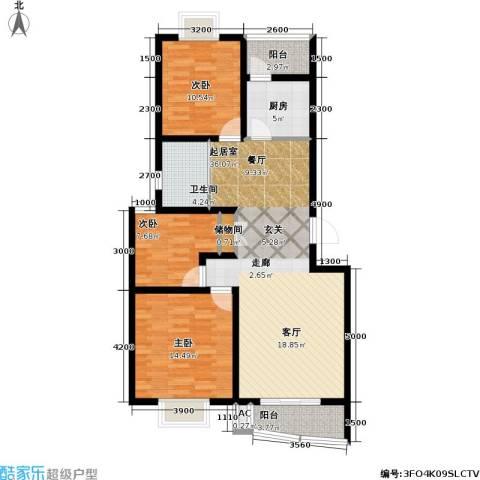 海城公寓3室0厅1卫1厨123.00㎡户型图