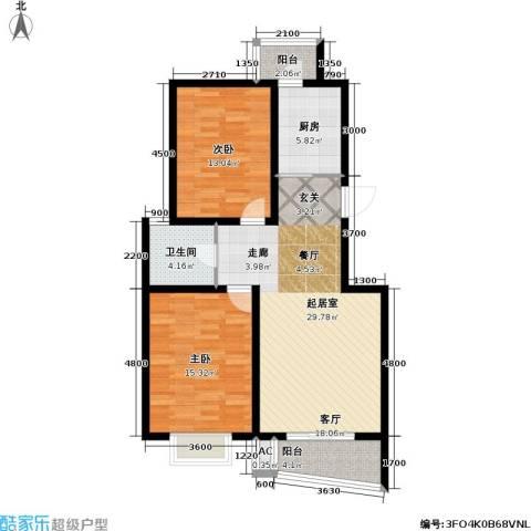 海城公寓2室0厅1卫1厨107.00㎡户型图