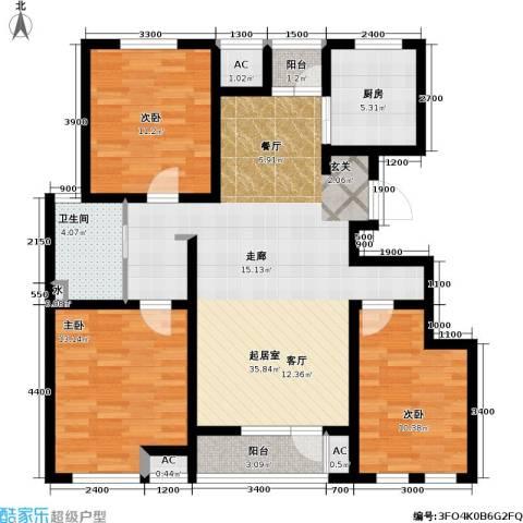 天屋福城3室0厅1卫1厨126.00㎡户型图