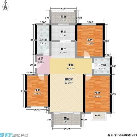 桃花园山澜乡韵三期3室0厅2卫1厨151.00㎡户型图